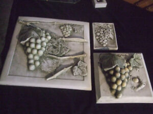 Plaster of Paris wall plaques X 8 pieces Grapes and Veggies
