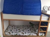 Urgent, IKEA Kura reversible bed, bunk, blue and white pine, frame, smoke and pet free