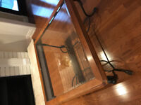 Beautiful glass top, wood and rot iron coffee table!