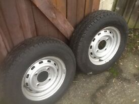Trailer wheels x2. Fits Brian James, and hallmark boat trailers