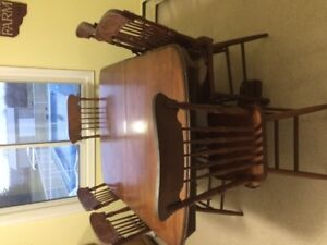 Antique Solid Wood Table and 6 Chairs