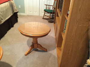 Oak coffee table and two end tables