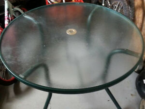Outdoor Glass Table and 4 Chairs with Padded Cushions for Sale!