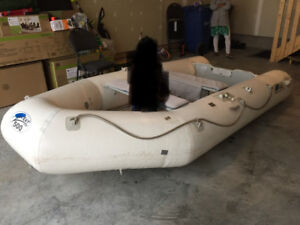 inflating boat in