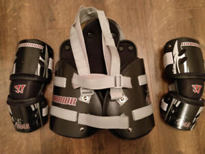 Warrior Lacrosse Stick,  Rib Pads, Elbow Pads - Youth Medium