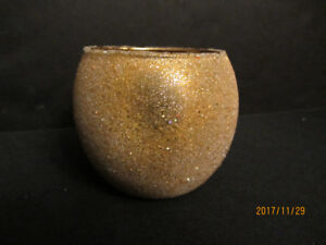 GOLD GLASS BEADED GLOBE CANDLE HOLDERS - New!