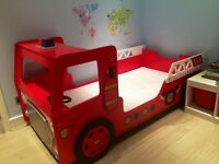 Fire engine single bed frame with lights and steering wheel