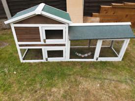 Rabbit hutch and run/chicken coop.