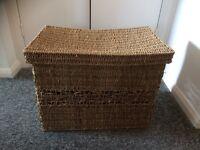 Wicker basket with lid.