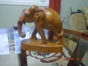Hand Carved Solid Wood Elephent Kitchener / Waterloo Kitchener Area image 1