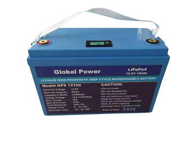 Global Power 12V100AH LIFEPO4 Powerwall SOLAR RV BOAT OFFGRID GOLF CART