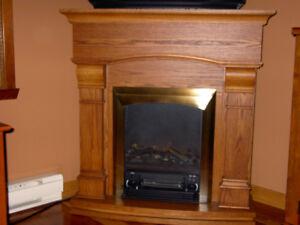 Foyer électrique 1500 W. en chêne