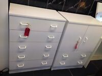 White melamine chest of drawers