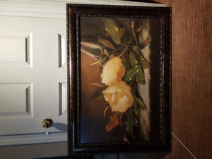 $25 Large rose picture in frame..Great wall decor!