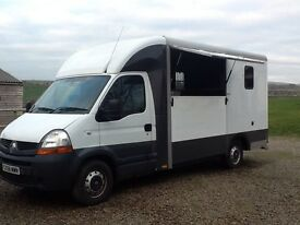 Renault Master 3.5 ton horsebox 2 horse tel 07816 857846
