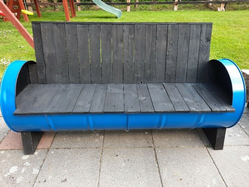 Upcycled barrel bench
