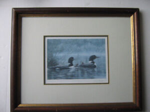 """Don Li-Leger Signed Print of """"Northern Reflections - Loons"""""""