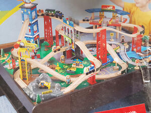 Toy train set with table
