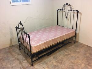 Painted brass bed