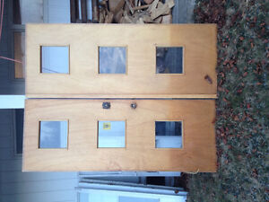 Solid Wood Double Doors w/ Frame