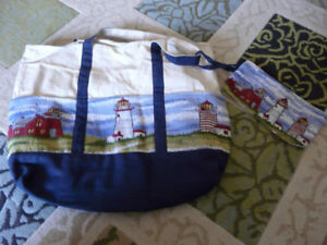 Carry bag/purse with zippered pouch, NEW, nautical theme