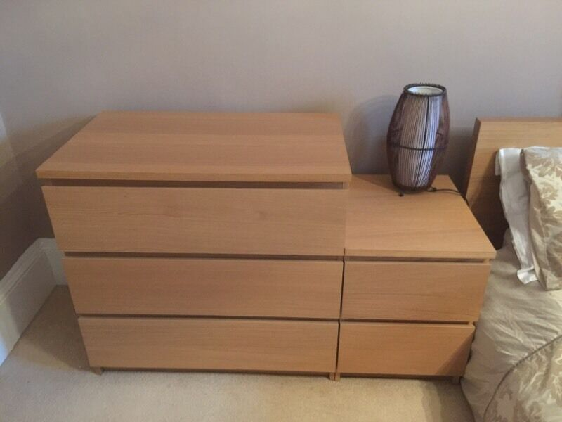 Malm Bedroom Furniture Ikea Chest Of Drawers X 2