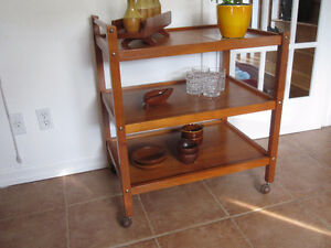 Mid Century Modern Danish Teak Tea Cart / Bar Cart