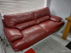 Real Leather Red Sofas
