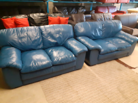 Pair of 2 Seater Blue Leather Sofas