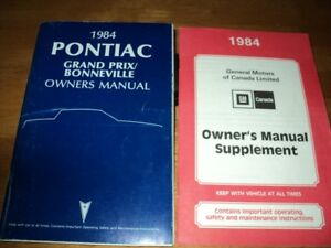 1984 Pontiac Grand Prix / Bonneville owner's manual