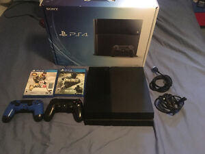 PS4 500gb with 2 controllers and 2 games