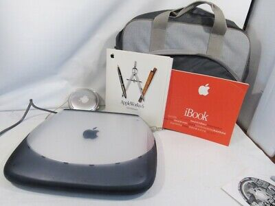 APPLE iBook G3 CLAMSHELL LAPTOP, GRAPHITE, OS9, works, brochure, bag, power supp