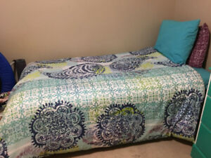 Twin pillowtop mattress, box spring, bedding set, and frame