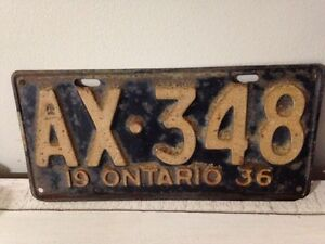 Antique 1936 Ontario thick metal license plate