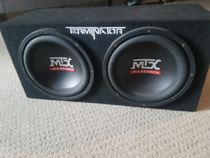 """Two 12"""" subwoofers with a 250 watt amp"""