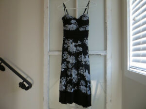 For Sale: Black Dress with White Floral Print