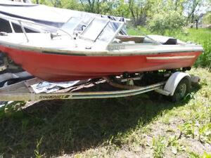 16 foot boat, trailer and 120 inboard for parts or repair