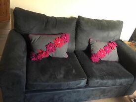 Blue/grey suede sofa