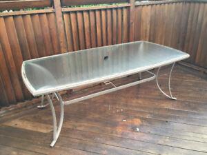 Patio Dining Table - Aluminum & Glass 82x42 - $50
