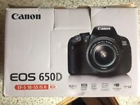 Canon 650D DSLR camera with 32gb SD card + 2 extra batteries