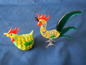 MURANO ROOSTER AND HEN BLOWN ART GLASS MINIATURE FIGURINES