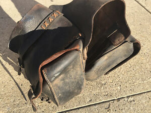 Antique motorcycle leather side bages