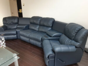 Black Leather Couch - Extendable Chairs