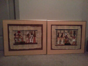 EGYPTIAN OIL ON PAPYRUS FRAMED ART-TWO PIECES