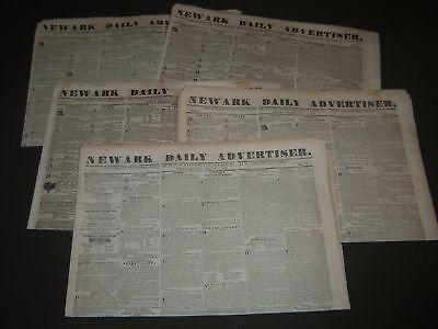 (1837 NEWARK DAILY ADVERTISER NEWSPAPER LOT OF 5 - NEWARK NEW JERSEY - NP 2331)