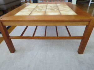 Teak wood coffee table with tile inlay