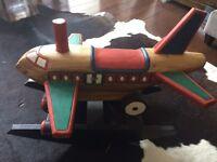 Child's wooden rocking horse - airplane