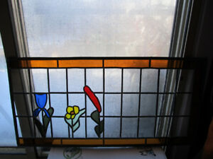 """Antique leaded stained glass art pane 32"""" x 16"""""""