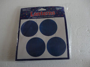 Brand new pack of 4 blue paper lanterns hanging decor London Ontario image 1