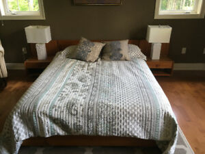 Retro Low Profile Solid Teak Queen Bedframe with Night Tables